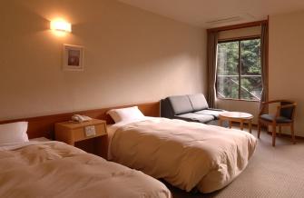 洋室2名様用 窓からは木々の緑が楽しめるツインルーム