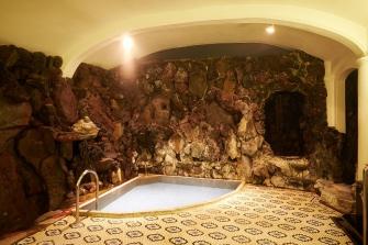 源泉に一番近い温泉で、生まれたての新鮮な温泉がお楽しみいただけます。こちらの大正風呂では、当時としては珍しい輸入タイルを床に使用しております。壁面は一面岩窟の風情となっており、まるで洞窟にいるような他にはない雰囲気となっております。